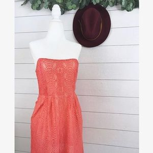 Fossil • Coral Lace Strapless Pocket Midi Dress